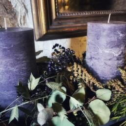 Kerze Lavendel mit Grün