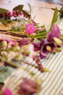 Bereitlegen der Blumen